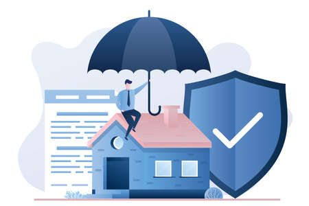Home Insurance Service. Cottage, businessman with umbrella, security shield and insurance agreement paper. Trendy style vector illustration