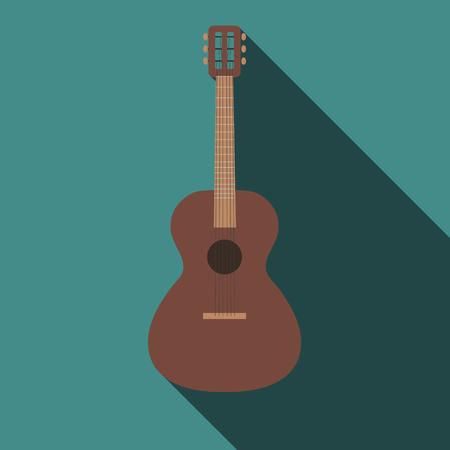 acoustics: Guitar flat design Illustration