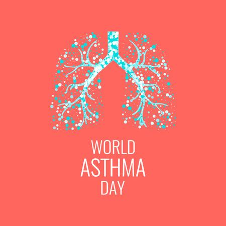 asthma: Cartel del Día Mundial del Asma con la ilustración de los pulmones llenos de burbujas de aire. signo de la conciencia del asma. solidaridad asma día. símbolo de los pulmones sanos.