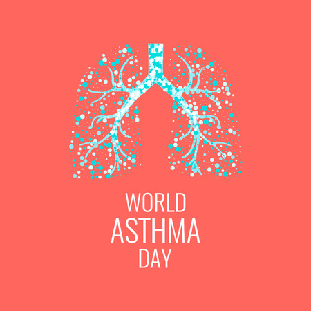 World Asthma Day poster with illustration of lungs filled with air bubbles. Asthma awareness sign. Asthma solidarity day. Healthy lungs symbol. Иллюстрация