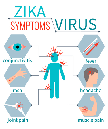 Zika virus symptom icons - fever, headache,muscle pain, joint pain, red eyes, rash. Zika virus infographic elements. Zika virus disease. Zika virus design template. Isolated vector illustration.