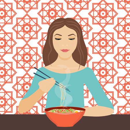 cute girl: illustration of a young woman eating noodle soup with chopsticks in a restaurant. Dinner time. Eating. background is made in chinese geometric style. Chinese cuisine.
