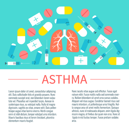 bronchial asthma: Asthma infographic design template with place for text. Asthma treatment symbols-inhalers, pills, syringes and first aid boxes. Asthma awareness sign. Vector illustration.
