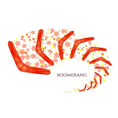 Boomerang in movement. Imitation of watercolor. Boomerang as a symbol of Australia. Isolated vector illustration. Vettoriali