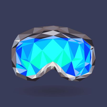 eyewear fashion: Seamless winter pattern with snowboard goggles isolated on blue background. Low poly vector design.