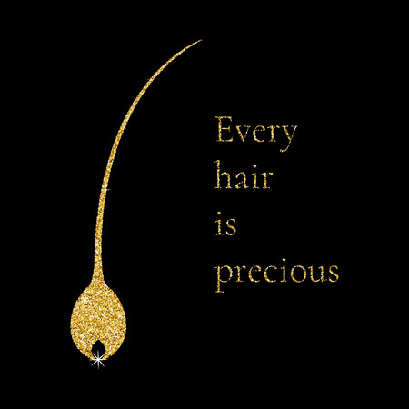 Vector illustration of a hair bulb with gold glitter texture, inspirational motivational quote- Every hair is precious. Hair medical diagnostics symbol. Hair care. Hair transplant clinic logo.