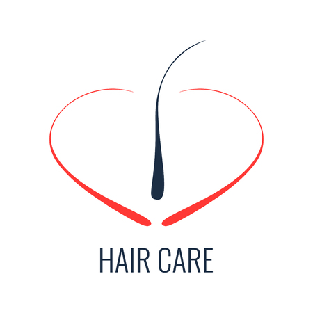 Hair care logo. Hair follicle icon. Hair bulb symbol. Hair medical diagnostics sign. Hair medical center poster. Hair loss treatment concept. Vector illustration.
