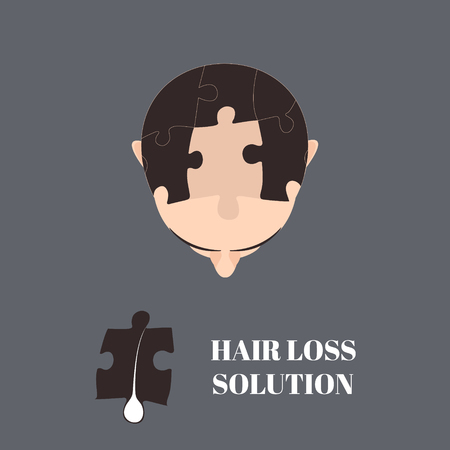 Top view portrait of a man with hair puzzle elements. Jigsaw puzzle hair loss solution. Solving hair loss problem concept. Hair transplantation. Perfect design for hair clinics or diagnostic centres.