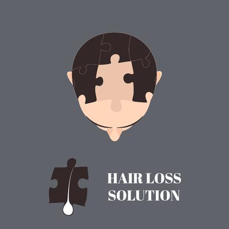 Vista dall'alto ritratto di un uomo con i capelli elementi puzzle. Jigsaw puzzle soluzione di perdita di capelli. Risolvere la perdita dei capelli problema concetto. Il trapianto di capelli. Design perfetto per le cliniche di capelli o centri diagnostici. Vettoriali