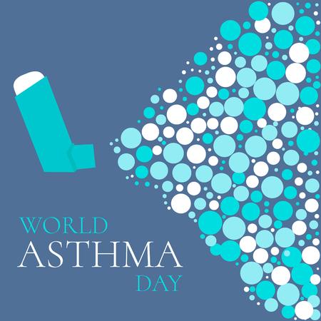 concepto del Día Mundial del Asma con un inhalador de aerosol. signo de la conciencia del asma bronquial. día nacional del asma. solidaridad asma día. Ilustración del vector.
