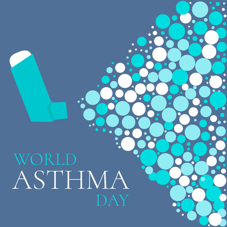bronchial asthma: World Asthma Day concept with a spray inhaler. Bronchial asthma awareness sign. National asthma day. Asthma solidarity day. Vector illustration. Illustration