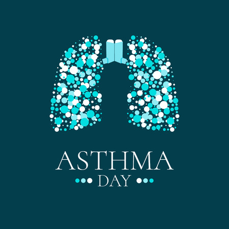 bronchial asthma: World Asthma Day. Vector illustration of inhalers and lungs filled with air bubbles on dark background. Bronchial asthma awareness sign. National asthma day. Asthma solidarity day. Lungs logo.