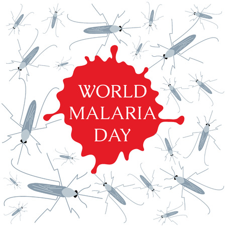 malaria: World Malaria Day concept with mosquitoes and drop of blood. Mosquito warning. Malaria awareness sign. Malaria transmission. National malaria day. Malaria solidarity day. Vector illustration. Illustration