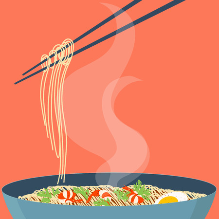 mian: Chinese noodles and chopsticks. Bowl of noodles with shrimps, eggs and parsley. Chopsticks hovering above. Wan mian. South East Asian cuisine. Design template with place for your text.