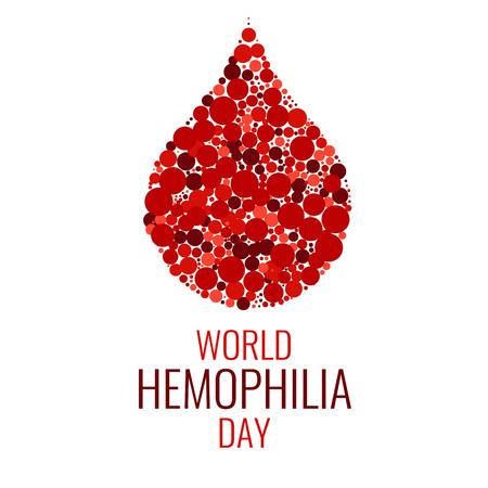 Día mundial de la hemofilia. Gota de sangre hecha de puntos en el fondo blanco. símbolo de la gota. signo de la hemofilia. Símbolo del conocimiento de la hemofilia. Detener la hemofilia. ilustración del vector.