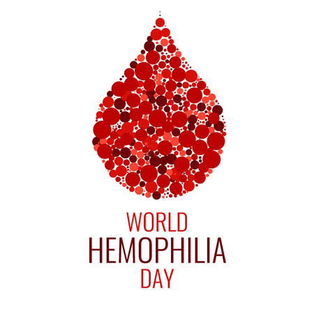 World Hemophilia Day. Drop of blood made of dots on white background. Blood drop symbol. Hemophilia sign. Hemophilia awareness symbol. Stop hemophilia. Isolated vector illustration. Çizim