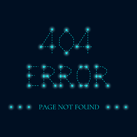 page not found: Page not found. 404 error creative design. Luminous sign. 404 connection error sign with luminous nodes at the intersections of the ribs. Web site design template. Isolated vector illustration. Illustration