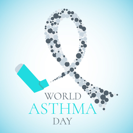 inhaler: World Asthma Day concept with a spray inhaler and a grey ribbon. Bronchial asthma awareness sign. National asthma day. Asthma solidarity day. Vector illustration.