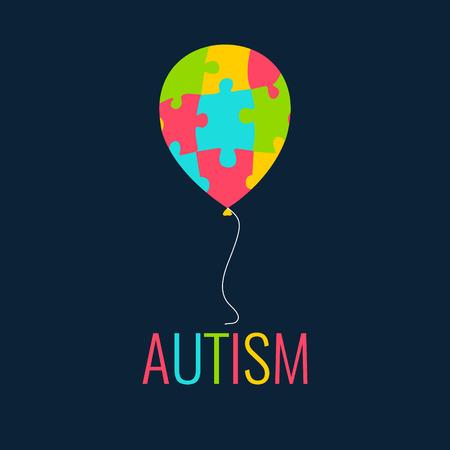 Światowy Dzień Autyzmu. Autyzmu plakat z barwną balonu wykonana z puzzli. Autyzm solidarność dzień. Symbol autyzmu. Symbol logiczne. Autyzm znak. ilustracji wektorowych.