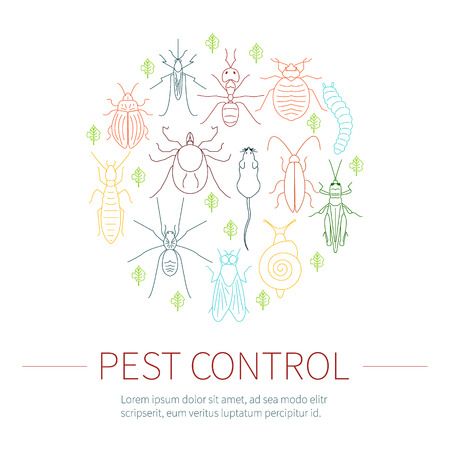 rodents: Pest control line icon set with place for text. Insects and rodents symbols. Linear design elements can be used by exterminator service and pest control companies. Isolated vector illustration.