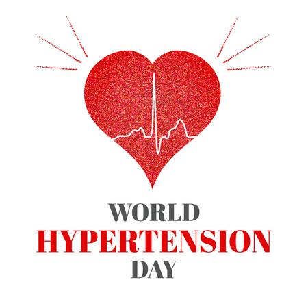 hypertension: World Hypertension Day. Vector illustration of heart and cardiogram. Hypertension awareness sign. Pulse symbol. Heartbeat label. Hypertension solidarity day symbol. Medical concept.