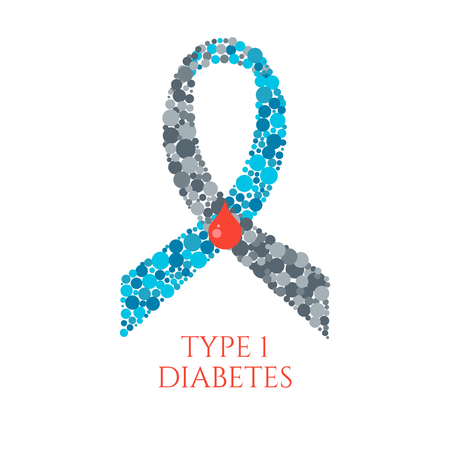 Diabetes Type 1 awareness symbol. Blue and grey ribbon made of circles with a drop of blood on white background. Diabetes symbol. Diabetes type one sign. Vector illustration. Ilustração