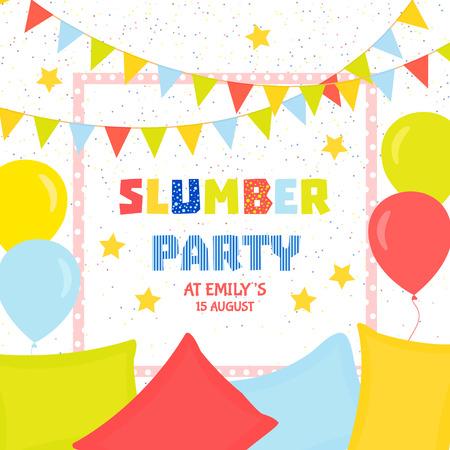pijamada: Modelo de la invitación fiesta de pijamas con banderas de colores, globos y almohadas. diseño de la invitación fiesta de pijamas. Fondo festivo. Ilustración del vector. Vectores