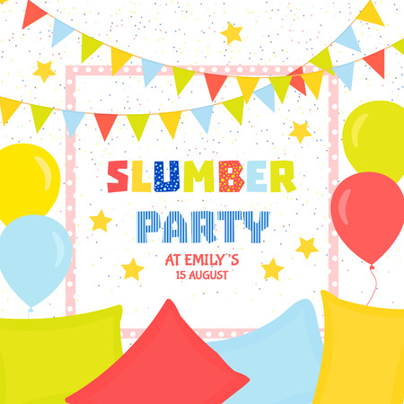 slumber: Slumber party invitation template with colorful flags, balloons and pillows. Sleepover party invitation design. Festive background. Vector illustration.