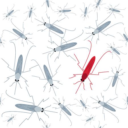 Naadloos mug patroon. Mosquito waarschuwing. Awareness teken. Transmissie van malaria, Zika virus, dengue en gele koorts. Virus-verspreiden muggen poster. Vector illustratie.