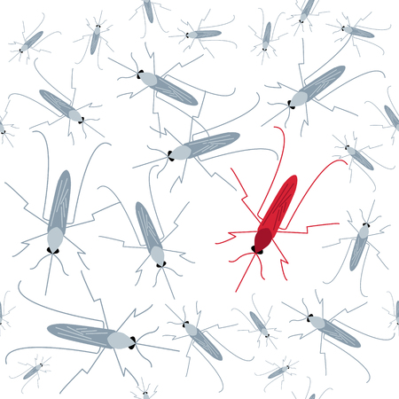 Seamless mosquito pattern. Mosquito warning. Awareness sign. Transmission of malaria, zika virus, dengue and yellow fever. Virus-spreading mosquitoes poster. Vector illustration.