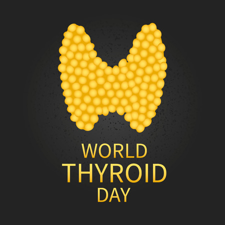 secretion: World Thyroid Day. Vector illustration of thyroid gland in gold color on black background. Thyroid awareness sign. Thyroid solidarity day. Thyroid symbol. Thyroid icon. Medical concept.