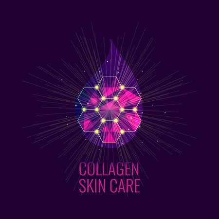 massage symbol: Vector illustration of a collagen drop. Serum skin care product. Collagen drop symbol. Beauty concept. Perfect for beauty, massage, and spa salons. Illustration