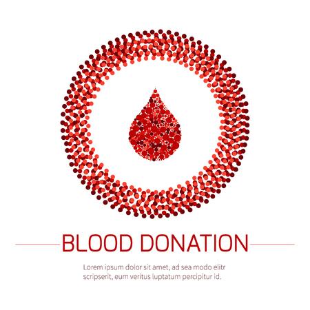 Le don de sang de l'affiche médicale. Illustration d'une goutte de sang dans un cercle formé de points sur fond blanc. Transfusion sanguine. Monde Sang Journée des donateurs.