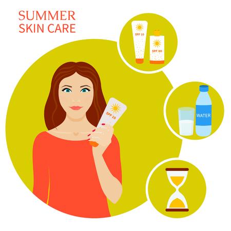 Sommer Hautpflege-Set. Haut Sonnenschutz Infografik-Elemente. Sonne und Strand Sicherheitsregeln. Vektor-Illustration.