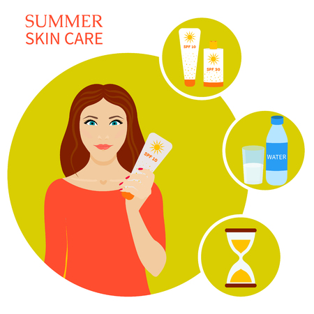 Summer skin care set. Skin sun protection infographic elements. Sun and beach safety rules. Vector illustration.