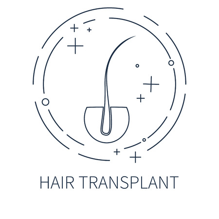 diagnostic: Hair transplant template made in line style. Hair loss treatment concept. Hair medical label. Hair follicle icon. Hair bulb vector symbol. Perfect for hair clinics or diagnostic centers.