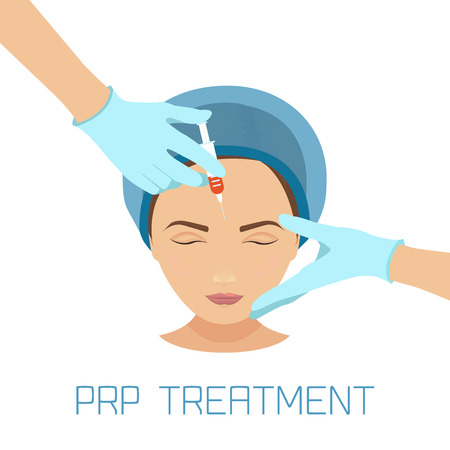 Platelet rich plasma facial injection. PRP therapy process for facelift and wrinkles. Female rejuvenation treatment infographics. Anti-ageing PRP injection procedure. Meso therapy. Vector illustration