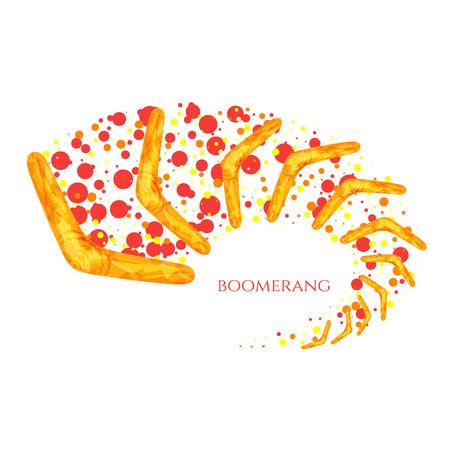 wooden boomerang: Flying boomerang  . Yellow boomerang icon with Australian aboriginal ornament. Boomerang in movement. Imitation of watercolor. Boomerang as a symbol of Australia. Isolated vector illustration.