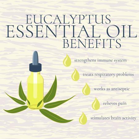 Benefits of eucalyptus essential oil. infographics. Reasons to use eucalyptus essential oil. A bottle of eucalyptus oil. Isolated vector illustration.