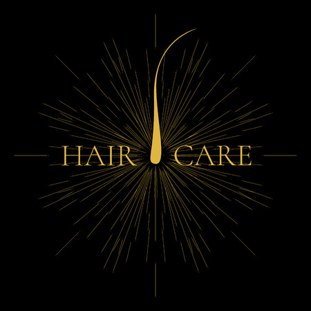 baldness: Vector illustration of a hair bulb with light burst and rays. Hair medical diagnostics symbol. Hair anatomy. Epilation and hair removal. Hair care sign.