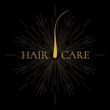 Vector illustration of a hair bulb with light burst and rays. Hair medical diagnostics symbol. Hair anatomy. Epilation and hair removal. Hair care sign.