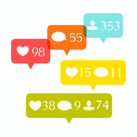 follower: Like, comment and follower icons set. Social media buttons on white background. Notification icons. Isolated vector illustration.