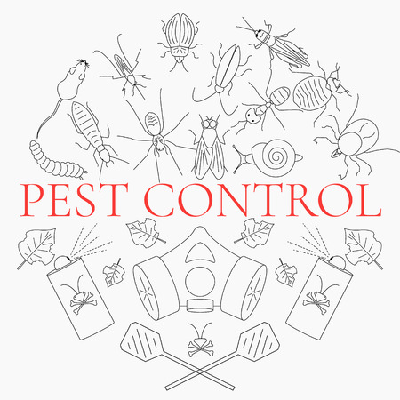 pest control equipment: Pest control line icon set with insects and rodents and pest control equipment. Linear design elements for exterminator service and pest control companies. Illustration