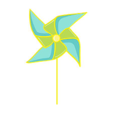 wind mill toy: Pinwheel. Colorful paper pinwheel isolated on white. Vector illustration of a toy windmill. Perfect for invitations, save the dates, and thank you cards.