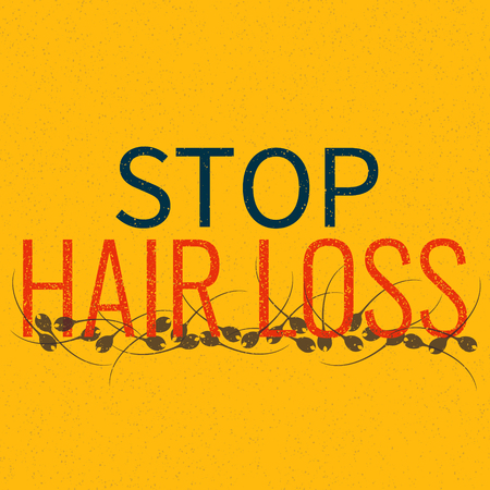 baldness: Stop hair loss grunge graffiti sign. Stop inscription. Hair care concept. Isolated vector illustration.