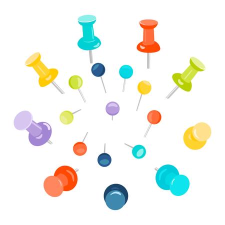 tacks: Set of colored push pins on white background. Push pins for maps. Flat push pin clips. Head push pins. Thumbtacks. Pins stationery products. Needles and tacks. Vector illustration. Illustration