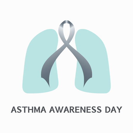 air awareness: Asthma awareness sign. Asthma concept with grey ribbon and lungs icons on white background. Asthma solidarity day. Vector illustration.