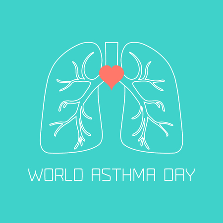 bronchial asthma: World Asthma Day poster. Asthma awareness sign made in linear style. Asthma solidarity day symbol. Medical concept. Vector illustration.