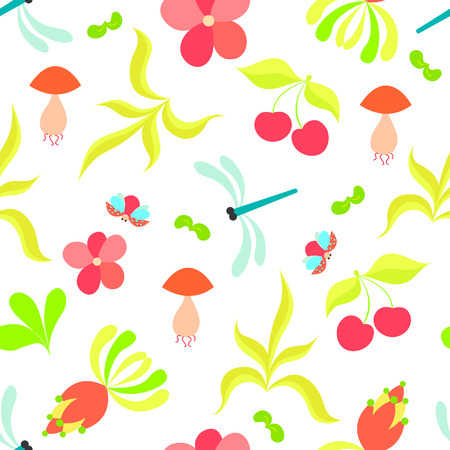 scrap booking: Colorful floral seamless pattern with gragonflies and ladybirds. Summer vector set. It is perfect for fabric, cards, party invitations, baby shower albums and scrap booking. Illustration