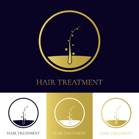 baldness: Hair treatment logo template in four colors. Hair follicle icon. Hair bulb symbol. Hair medical diagnostics sign. Hair transplant center logo. Hair loss treatment concept. Vector illustration.